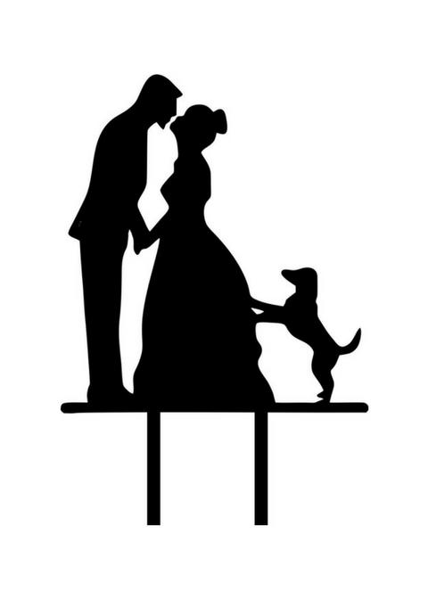 Topper z psem i młodą parą na tort weselny