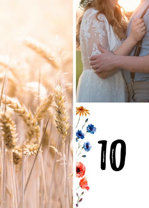 Numery stołów weselnych z polnymi kwiatami