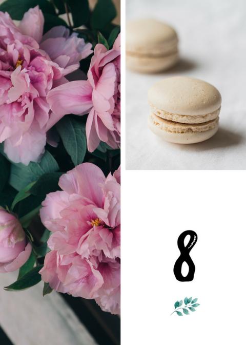 Numery stołów weselnych. Liściasty motyw