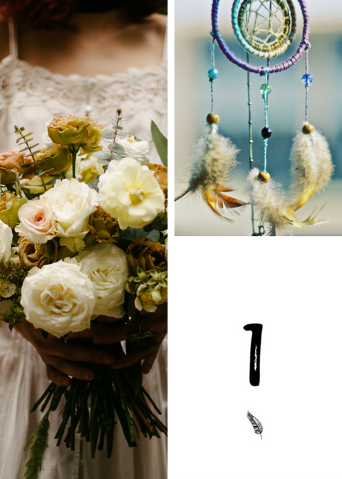 Numery stołów weselnych z piórkiem na ślub w stylu boho