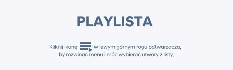 Kliknij w ikonę w lewym górnym rogu odtwarzacza, by rozwinąć menu i móc wybierać piosenki na podziękowania dla rodziców z listy