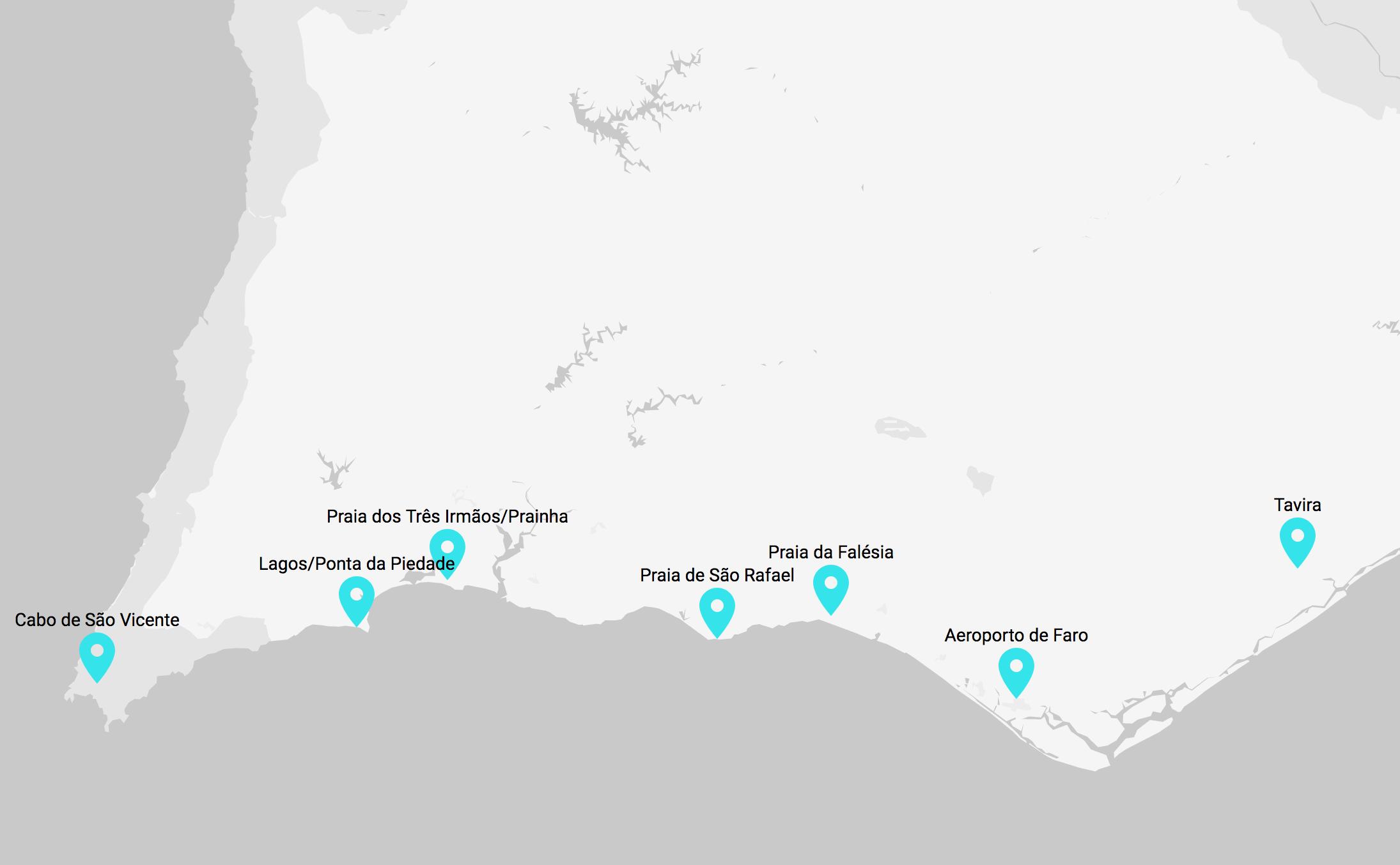 Mapa, trasa zwiedzania Algarve podczas podróży poślubnej