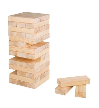 65-centymetrowa drewniana wieża z klocków od Woodbe